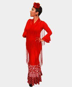 Falda Alegria de baile flamenco con volante en tejido de volantitos y combinado con rayas y lunares